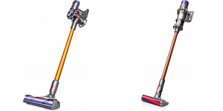Side by side comparison of Dyson V8 Absolute and Dyson V10 Absolute